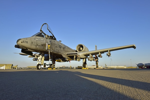 Lt. Col. Ben Rudolphi, 407th Expeditionary Operation Support Squadron commander, conducts a preflight check on an A-10 Thunderbolt II July 11, 2017, at Incirlik Air Base, Turkey. Rudolphi has provided a dual role in Operation INHERENT RESOLVE as the commander of the 407th EOSS in Southwest Asia and being directly in the fight against ISIS conducting A-10 flying missions with the 447th Air Expeditionary Group.The A-10 supports ground forces with rapid employment close air and contact support. It utilizes a variety of bomb, missiles and a 30mm GAU-8 seven-barrel Gatling gun. (U.S. Air Force photo by Senior Airman Ramon A. Adelan)