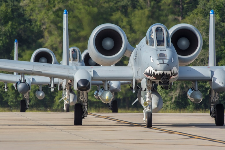Moody's 74th Fighter Squadron's A-10C Thunderbolt IIs taxi on the runway, July 11, 2017, at Moody Air Force Base, Ga. More than 300 Airmen deployed to Southwest Asia to aid the 74th Fighter Squadron's A-10 mission in support of Operation Inherent Resolve. (U.S. Air Force photo by Senior Airman Greg Nash)