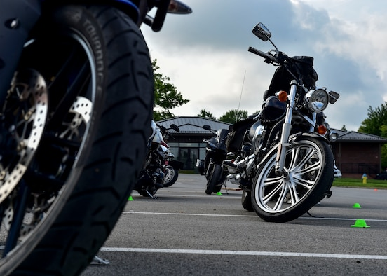 Motorcycles await their riders during a motorcycle safety course July 14, 2017, here. The course provides the skills and knowledge necessary for both amateur and veteran riders to stay safe while on the road. (U.S. Air Force Photo/Senior Airman Jeffrey Grossi)