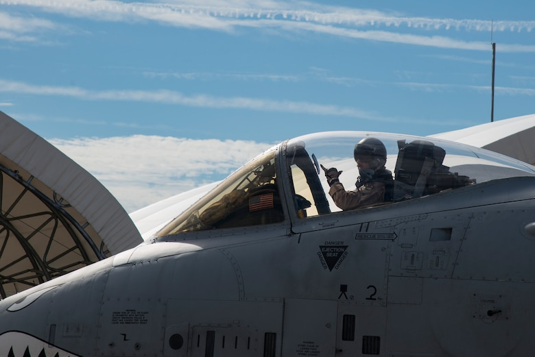 Capt. Daniel Hann, 74th Fighter Squadron pilot, taxis in an A-10C Thunderbolt II prior to deploying, July 11, 2017, at Moody Air Force Base, Ga. More than 300 Moody Airmen deployed to Southwest Asia to aid the 74th Expeditionary Fighter Squadron in support of Operation Inherent Resolve. (U.S. Air Force Photo by Airman 1st Class Erick Requadt)
