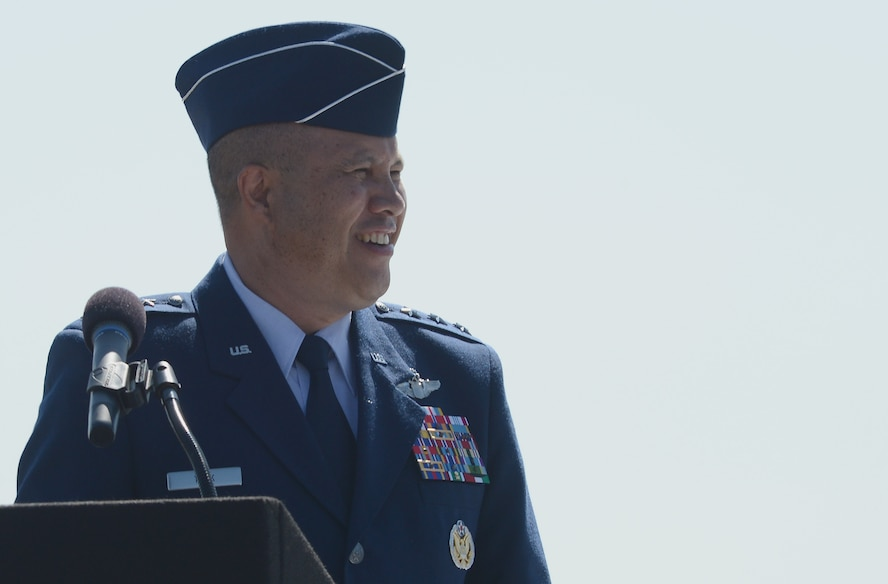Lt. Gen. Giovanni Tuck, 18th Air Force commander, addresses the audience during a change of command ceremony, July 14, 2017 at Joint Base Lewis-McChord, Wash. As 18th AF commander, Tuck is responsible for the command's worldwide operational mission of providing rapid global mobility and sustainment for America's armed forces through airlift, aerial refueling, aeromedical evacuation and contingency response. (U.S. Air Force photo/Staff Sgt. Divine Cox)