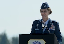 Col. Rebecca Sonkiss, 62nd Airlift Wing commander, addresses the audience upon assuming command of the 62nd AW, July 14, 2017, at Joint Base Lewis-McChord, Wash. Sonkiss is a command pilot with more than 4,100 hours flown in the C-17 Globemaster III, the T-37B, and the T-44, among others. (U.S. Air Force photo/Staff Sgt. Divine Cox)