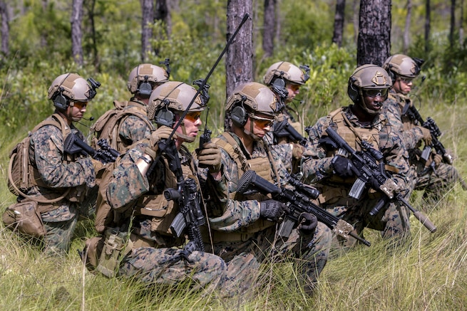 Marines make final preparations to equipment as part of Sea Dragon 2025 during a live-fire training at Camp Lejeune, N.C., July 12, 2017. The Marines are assigned to 1st Battalion, 6th Marine Regiment, 2nd Marine Division. The equipment showcased new capabilities for Marines to use in future exercises and operations. Marine Corps photo by Lance Cpl. Justin X. Toledo