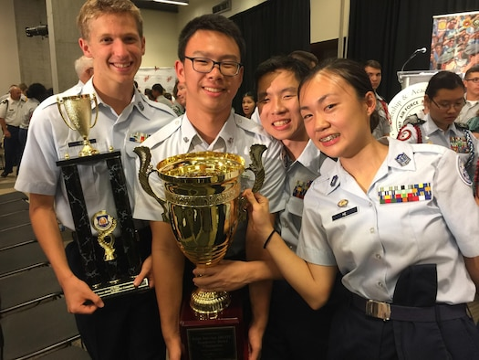 Air Force JROTC cadets from Scripps Ranch High School, San Diego, celebrate after winning the Joint Service Academic Bowl Championship at the 2017 JROTC Leadership and Academic Bowl Championship in Washington, D.C., in June. This is the second year in a row that cadets from Scripps Ranch have won the award. The contest is sponsored by College Options Foundation. (Courtesy photo)
