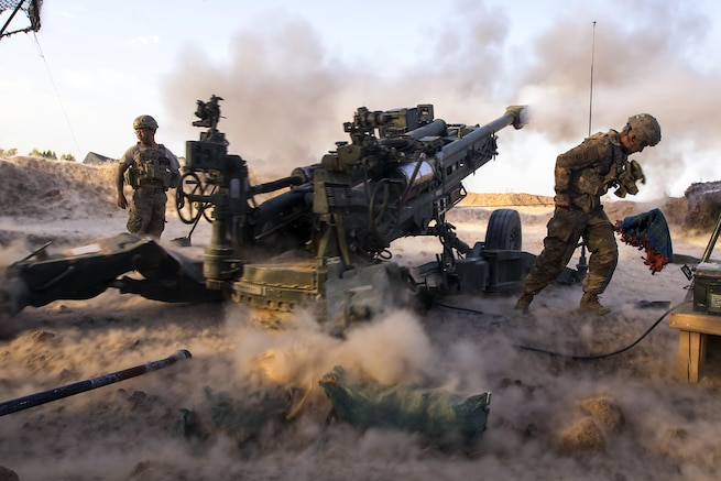 Paratroopers engage ISIS militants with precise and strategically placed artillery fire in support of Iraqi and Peshmerga fighters in Mosul, Iraq, July 6, 2017. The paratroopers are assigned to Charlie Battery, 2nd Battalion, 319th Airborne Field Artillery Regiment, 82nd Airborne Division. Army photo by Sgt. Christopher Bigelow
