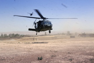 UH-60 Black Hawks deliver munitions to Army paratroopers at Forward Operating Base Shalalot, Iraq, July 6, 2017.  Army photo by Sgt. Christopher Bigelow