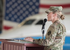 U.S. Army Lt. Col. Heather L. Maki, former U.S. Army Priority Air Transport Command commander, gives her farewell speech during the unit's change of command and responsibility ceremony at Joint Base Andrews, Md., July 14, 2017. USAPAT's mission is to provide senior Army leadership and key government officials with fast, long-range and professional executive transportation throughout the world. Maki served as the unit's commander for two years and was relinquished of her command by Lt. Col. Matthew L. Rowland. (U.S. Air Force photo by Senior Airman Jordyn Fetter)