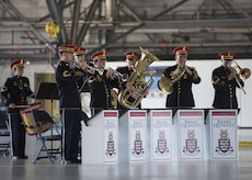 The U.S. Army Brass Quintet performs during the U.S. Army Priority Air Transport Command change of command and responsibility ceremony at Joint Base Andrews, Md., July 14, 2017. The role of commander was passed from Lt. Col. Heather L. Maki to Lt. Col. Matthew L. Rowland during the event. Change of command ceremonies are symbolic of the transfer of command responsibility and the lasting continuity of the unit's mission. (U.S. Air Force photo by Senior Airman Jordyn Fetter)