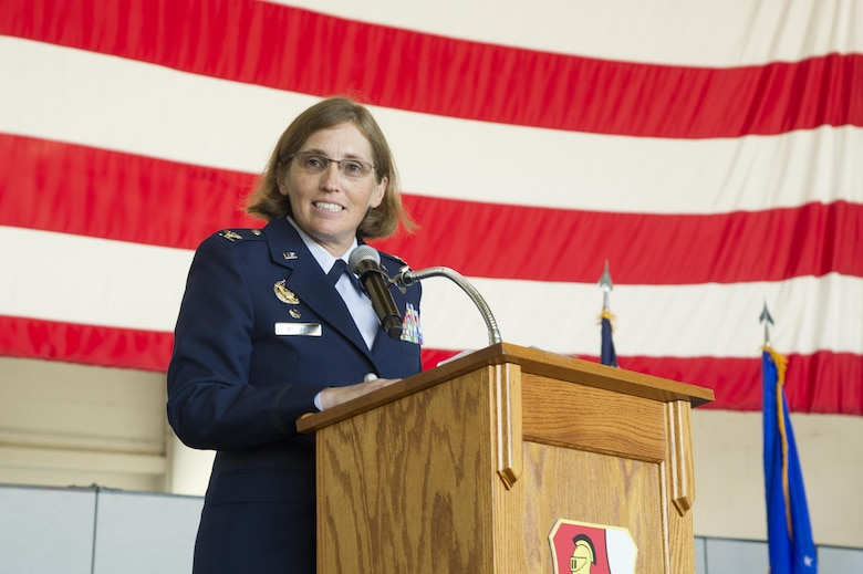 Col. Stephanie W. Williams, 940th Air Refueling Wing commander, speaks during a change of command ceremony July 16, 2017, at Beale Air Force Base, California. Prior to assuming command, Williams was the 349th Operations Group commander at Travis Air Force Base, California. (U.S. Air Force photo by Senior Airman Tara R. Abrahams)