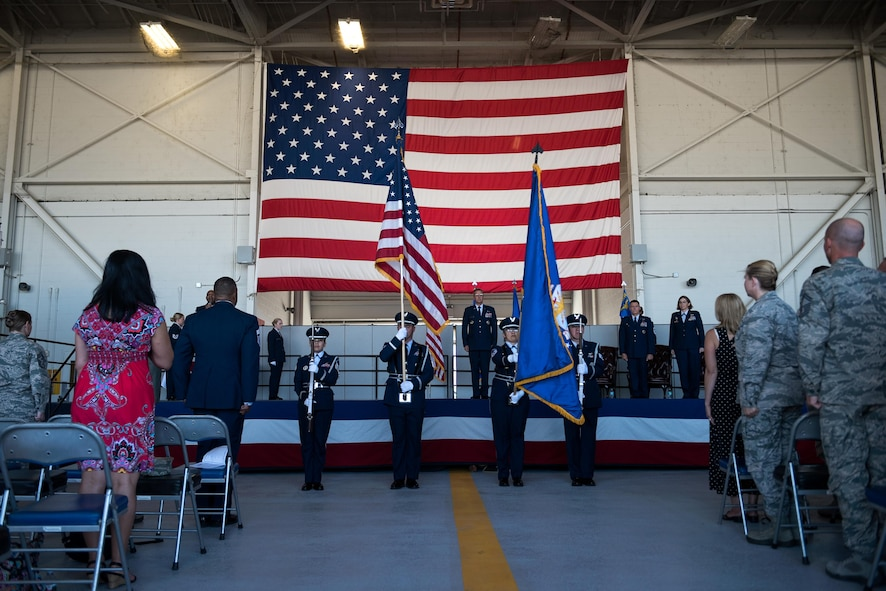 The 940th Air Refueling Wing Honor Guard presents the colors during the wing's change of command ceremony July 16th, 2017, at Beale Air Force Base, California. Col. Stephanie W. Williams took charge of the wing from Col. Craig C. Peters. (U.S. Air Force photo by Staff Sgt. Brenda Davis)