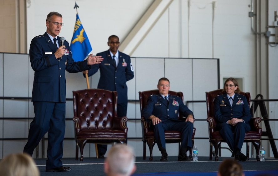 Maj. Gen. Randall A. Ogden, 4th Air Force commander from March Air Reserve Base, California, speaks during a change of command ceremony July 16, 2017, at Beale Air Force Base, California. Ogden served as the presiding officer as Col. Stephanie W. Williams assumed command of the wing from Col. Craig C. Peters. (U.S. Air Force photo by Staff Sgt. Brenda Davis)
