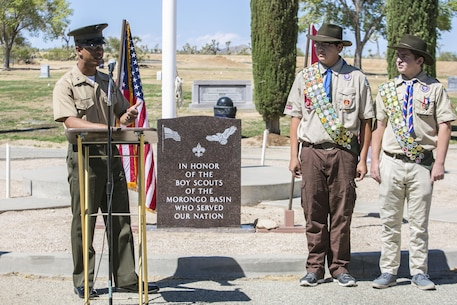 Capt. Jason Samuel, defense counsel, Legal Services Support Team, Headquarters Battalion, serves as the guest speaker at a memorial dedication ceremony for the Boy Scouts of America in Mountain Valley Memorial Park in Joshua Tree, California.
