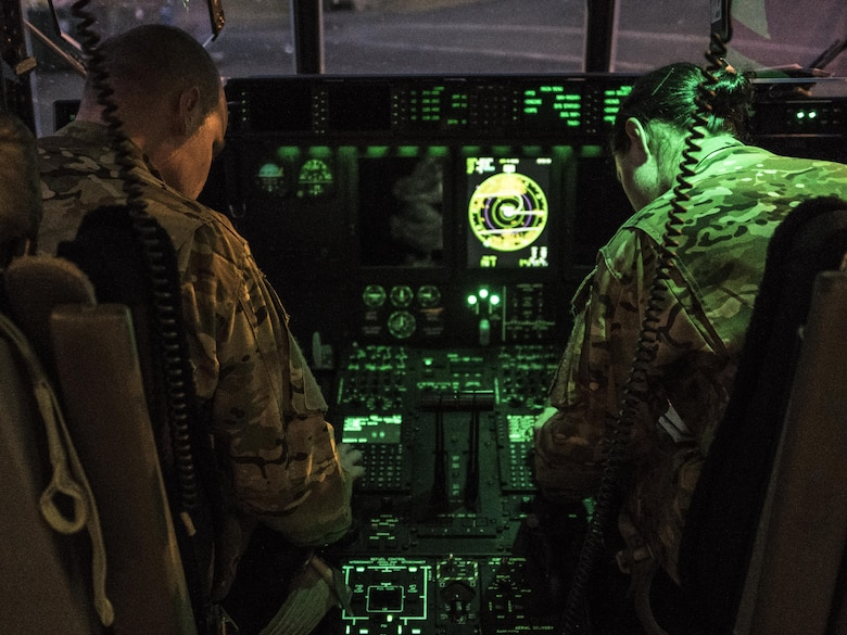 U.S. Air Force 17th Special Operations Squadron MC-130J Commando II pilots prepare for take-off prior to high altitude, high opening (HAHO) jump operations July 11, 2017, at Rockhampton, Australia during Talisman Saber 2017. Experts in specialized aviation, the 17th SOS conducts training operations often to ensure they are always ready perform a variety of high-priority, low-visibility missions throughout the Indo-Asia-Pacific-Region. (U.S. Air Force photo by Capt. Jessica Tait)