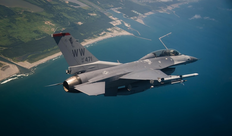 U.S. Air Force Capt. David Neville, a 13th Fighter Squadron F-16 Fighting Falcon pilot, conducts a flight sortie above northern Japan, June 12, 2017. Neville and other 13th and 14th Fighter Squadron pilots joined Kadena Air Base, Japan, F-15C Eagle pilots to conduct air-to-air coverage and suppression of enemy air defense procedures during an aviation relocation training. (U.S. Air Force photo by Staff Sgt. Deana Heitzman)