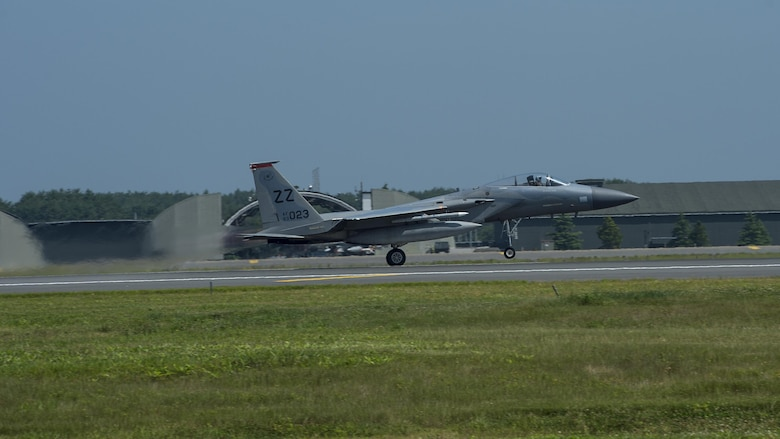An F-15C Eagle takes off during an aviation training relocation at Misawa Air Base, Japan, June 13, 2017. Pilots and maintainers relocated from Kadena Air Base, Japan, to Misawa to conduct joint and bilateral operations with the Japan Air Self-Defense Force's F-2s and the U.S. Air Force's F-16 Fighting Falcons. (U.S. Air Force photo by Staff Sgt. Deana Heitzman)