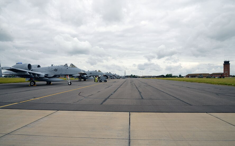 Some A-10 Warthogs from Moody Air Force Base, Ga., transited through RAF Mildenhall, England, July 14, 2017, on their way to a deployment in support of Operation Inherent Resolve.