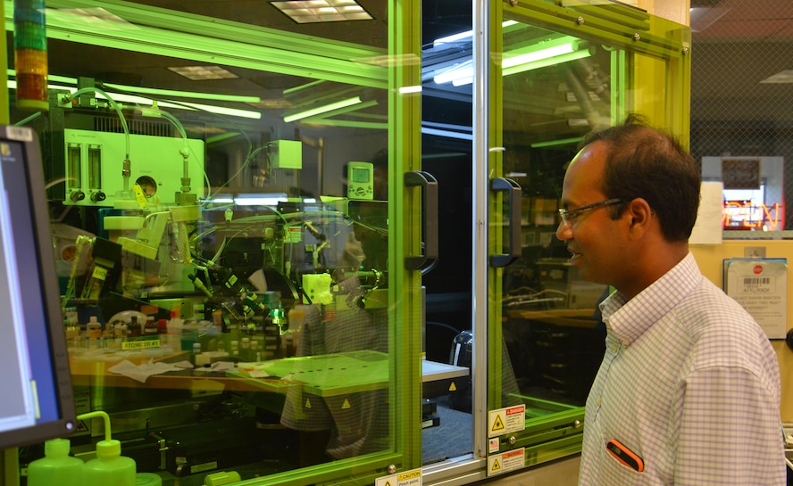 Dr. Santanu Bag, a project scientist at the Materials and Manufacturing Directorate, Air Force Research Laboratory, is exploring cost-efficient manufacturing of solar cells using additive technology.