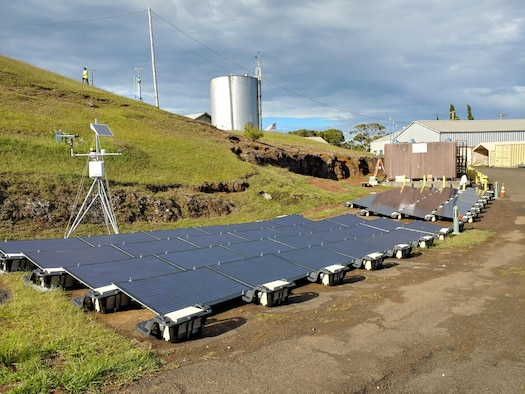 These lightweight solar panels on Mt. Koke'e, Hawaii, are part of the Energy Assurance at Remote Radar Sites project, a one-year effort managed by the AFRL Advanced Power Technology Office to demonstrate rapidly-deployable, off-grid energy technologies for increased mission energy resiliency in remote locations.  (Photo courtesy of University of Dayton Research Institute/AJ Mouser)