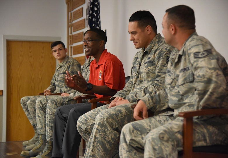 Tech. Sgt. Terry Hall, 336th Training Squadron instructor, speaks with Air Force Junior ROTC Cadets during an Airman panel during the JROTC Cadet Leadership Course at the Mathies NCO Academy auditorium July 13, 2017, on Keesler Air Force Base, Miss. Approximately 140 JROTC students from 15 high schools in five states attended the week-long course at Keesler that ended with a parade and graduation ceremony. (U.S. Air Force photo by Kemberly Groue)