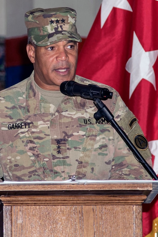Lt. Gen. Michael X. Garrett, commander of U.S. Army Central, gives a few remarks during the Task Force Spartan transfer of authority ceremony at Camp Arifjan, Kuwait, July 13, 2017. The 29th Infantry Division handed over control of Task Force Spartan, part of Operation Spartan Shield, to the 35th Infantry Division. TF Spartan highlights the vital role played by Army National Guard and Army Reserve Soldiers in operations around the world.