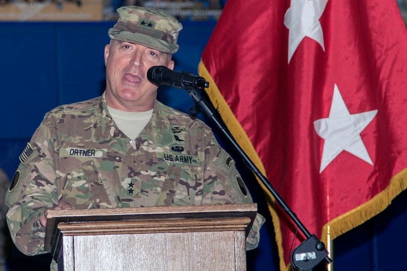 Maj. Gen. Blake C. Ortner, commanding general of the 29th Infantry Division, gives a few remarks during the Task Force Spartan transfer of authority ceremony at Camp Arifjan, Kuwait, July 13, 2017. The 29th Inf. Div. handed over control of TF Spartan, part of Operation Spartan Shield, to the 35th Infantry Division. TF Spartan highlights the vital role played by Army National Guard and Army Reserve Soldiers in operations around the world.