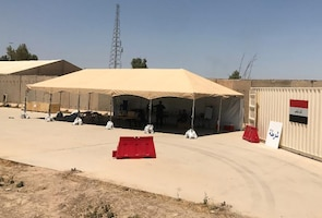 Several Police Presence in a Box kits were transferred to Iraqi security forces July 3. The kits are the first of 100 that DLA Troop Support procured for Combined Joint Task Force – Operation Inherent Resolve and will be transferred to ISF this summer. The kits include: a tent with a working space, furniture, lighting, water tanks, laptops, phones, GPS, weapons storage and checkpoint equipment.