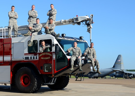 (Pictured from highest to lowest ranking) Master Sgt. Joseph Isaac, Staff Sgt. Jesse Barstad, Staff Sgt. Brian Wails, Senior Airman Tyler Gruber, Senior Airman Tanner Lunn, Airman 1st Class Christine Tourville, Airman 1st Class John Derting and Airman 1st Class Richard Yap from the 19th Logistic Readiness Squadron are the Tiger Team. After Striker Eight, one of Little Rock Air Force Base's mission essential firetrucks, became unserviceable, the Tiger Team buckled down and fixed the problem. If the job was contracted, it would have cost the Air Force $68,000 in labor and the truck would've been out of service for over a month. The Tiger Team had Striker Eight up and running in five days. (U.S. Air Force photo by Airman 1st Class Codie Collins)