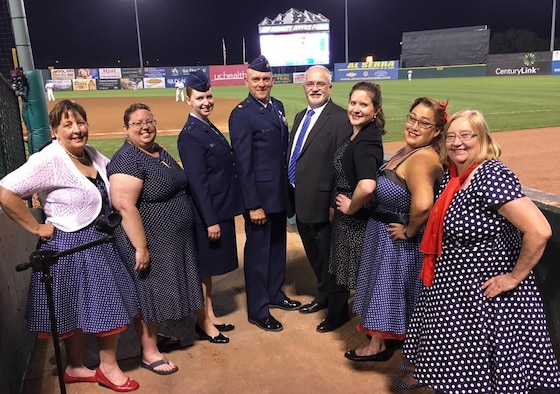 """Orbital Harmony members perform """"God Bless America"""" at the Sky Sox game in Colorado Springs, Colorado, July 4, 2017. The group competed to sing at the game and earned second place out of about 100 contestants. (Courtesy photo)"""