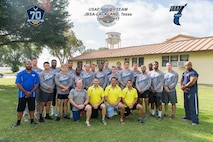 Members of the Air Force Rugby Team pose for a group photo before the 20th Annual Bloodfest Tournament in Austin, Texas. (Courtesy photo)