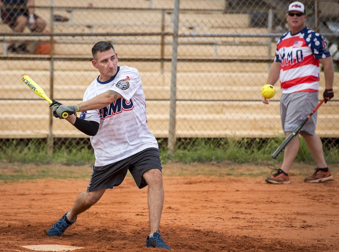 Jeff Hird, 96th Maintenance Squadron, swings away during an intramural softball game against the 359th Training Squadron team July 17 at Eglin Air Force Base, Fla.  The league-leading Maintainers pounded the training squadron 10-5 to improve to 9-1 on the season.  (U.S. Air Force photo/Samuel King Jr.)