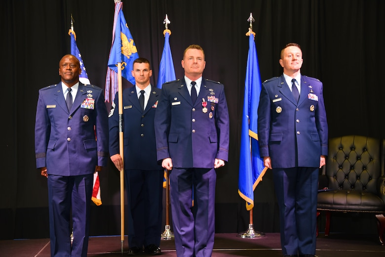 Col. Chad Schrecengost assumes command of the 82nd Mission Support Group, July 13, 2017. (U.S. Air Force photo by Liz Colunga)