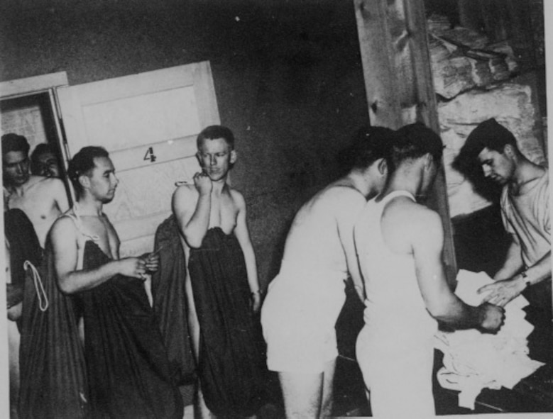 Trainees receive initial clothing issue during basic training at Buckley Field in 1943. (Courtesy Photo)