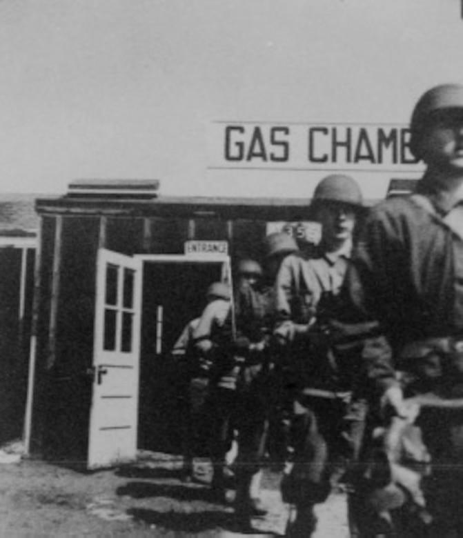 Trainees exit gas chamber during training at Buckley Field in 1943. (Courtesy Photo)