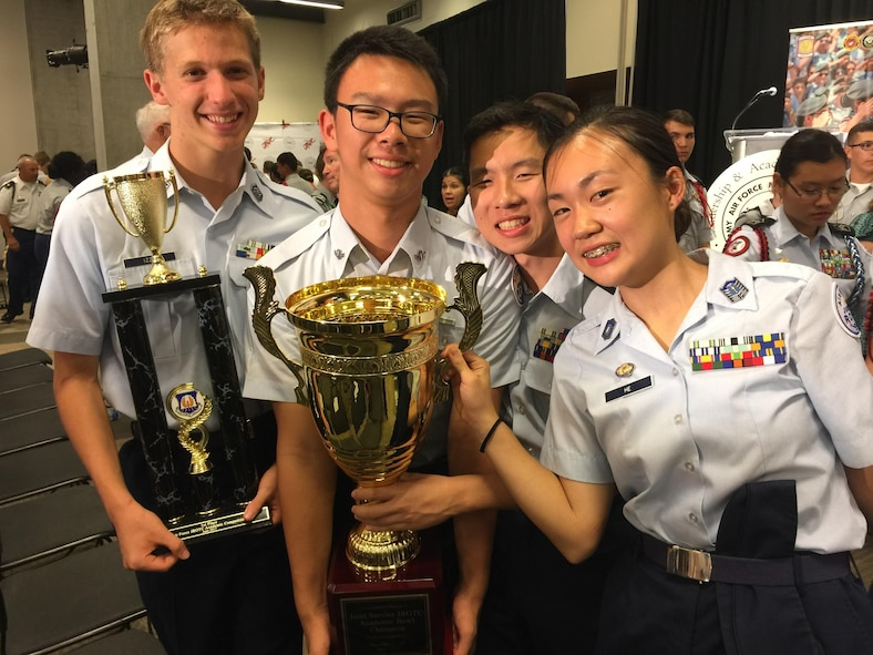 Air Force Junior ROTC cadets from Scripps Ranch High School, San Diego, celebrate after winning the Joint Service Academic Bowl Championship at the 2017 Junior ROTC Leadership and Academic Bowl Championship in Washington, D.C., in June, 2017. This is the second year in a row that cadets from Scripps Ranch have won the award. (Courtesy photo)