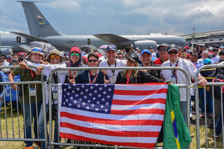Guests watch the aerial demonstrations at José María Córdova International Airport during Feria Aeronautica Internacional—Colombia 2017 in Rionegro, Colombia, July 15, 2017. The United States Air Force is participating in the four-day air show with two South Carolina Air National Guard F-16s as static displays, plus static displays of a KC-135, KC-10, along with an F-16 aerial demonstration by the Air Combat Command's Viper East Demo Team.  United States military participation in the air show provides an opportunity to strengthen our military-to-military relationships with regional partners and provides the opportunity to meet with our Colombian air force counterparts and facilitate interoperability, which can be exercised in future cooperation events such as exercises and training. (U.S. Air National Guard photo by Senior Airman Megan Floyd)