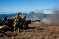 Marines with Golf Battery, Battalion Landing Team, 3rd Battalion, 5th Marines, fire an M777A2 155 mm howitzer as part of direct-fire training during Exercise Talisman Saber 17 on Townshend Island, Shoalwater Bay Training Area, Queensland, Australia, July 17, 2017. BLT 3/5 is the Ground Combat Element for the 31st Marine Expeditionary Unit, and is exploring state-of-the-art concepts and technologies as the dedicated force for Sea Dragon 2025, a Marine Corps initiative to prepare for future battles. Talisman Saber is a biennial exercise designed to improve the interoperability between Australian and U.S. forces. The 31st MEU is taking part in Talisman Saber 17 while deployed on a regularly-scheduled patrol of the Indo-Asia-Pacific region.