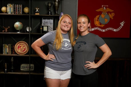 Kylee Wesolwski (left), a Wellington Florida native, poses with her mentor during the Semper Fidelis All-American Program and Battles Won Academy in Washington, D.C., July 13, 2017. Students from across the nation were selected to attend this academy where they participated in a variety of team building and leadership exercises. Wesolwski is a student from Wellington High School, Wellington, Florida. (Courtesy photo)