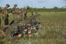 U.S. Marines with 1st Battalion, 6th Marine Regiment, 2nd Marine Division (2ndMARDIV), integrate Sea Dragon 2025 weapon systems and gear during a live-fire range at Range G-6, Camp Lejeune, N.C., July 12, 2017. The Sea Dragon 2025 equipment showcased new capabilities for marines to use in future exercises and operations. (U.S. Marine Corps photo by Lance Cpl. Justin X. Toledo)