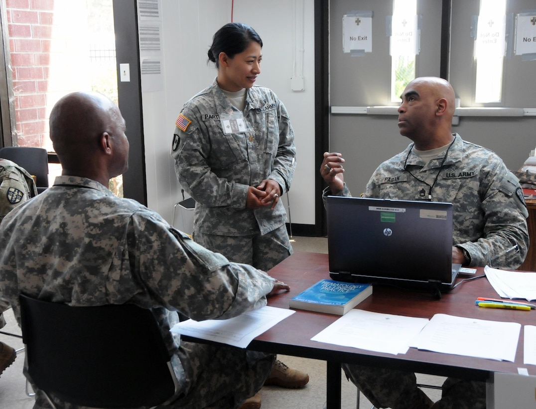 Sgt. 1st Class Luis Pagan, a practical nursing specialist (far right) assigned to Army Medical Department Professional Management Command (APMC), and Maj. Ausha Partido, the mobilization officer for Western Medical Area Readiness Support Group (middle), are assisting U.S. Army Reserve Soldiers assigned to the 7452nd Medical Backfill Battalion who have been identified to prepare for a Professional Filler System (PROFIS) mission.   Soldiers mobilized to support this mission will backfill Medical Command's active duty slots at medical centers and clinics across their health care organization.  APMC hosted the Soldier Readiness Processing (SRP) level 2 from 7-9 Jul., processing approximately 100 U.S. Army Reserve Soldiers from the 7452nd MBB during the 3-day event. The objective of the process is for Soldiers to be administratively, financially, legally, spiritually, logistically and medically ready to be mobilized after attending an SRP.