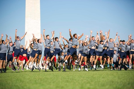 Participates of the Semper Fidelis All-American Program and Battles won academy, jump during the work out portion of the academy at the Washington Monument in Washington, D.C., July 14, 2017. Students from across the nation were selected to attend this academy where they participated in a variety of team building and leadership exercises. (Courtesy photo)