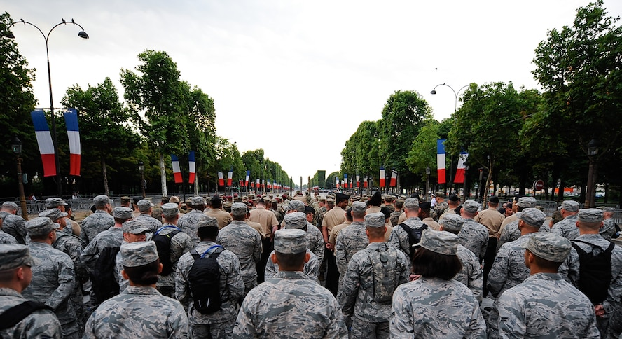 U.S. military members stand in formation during a Bastille Day military parade rehearsal at the Avenue des Champs-Élysées, France, July 10, 2017. The U.S. marched in and led one of the largest and highest profile military parades in the world. The parade included more than 7,000 military personnel and is the oldest military parade in existence dating back to 1880. (U.S. Air Force photo by Airman 1st Class Savannah L. Waters)
