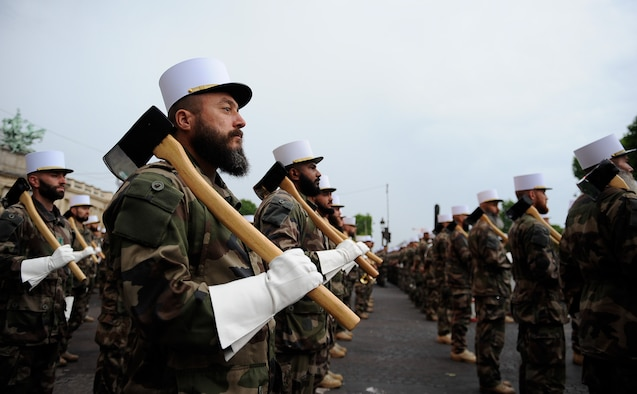 Members of the French Foreign Legion stand in formation during a Bastille Day military parade rehearsal at the Avenue des Champs-Élysées, France, July 10, 2017. The parade included more than 7,000 military personnel and is the oldest military parade in existence dating back to 1880. (U.S. Air Force photo by Airman 1st Class Savannah L. Waters)