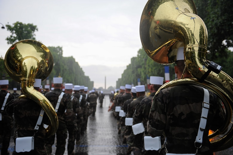 Bastille Day military parade participants march during a Bastille Day military parade rehearsal at the Avenue des Champs-Élysées, France, July 10, 2017. During rehearsals, military members from both countries had the opportunity to interact and learn from the other's military traditions and culture, further strengthening the bond between old allies. (U.S. Air Force photo by Airman 1st Class Savannah L. Waters)