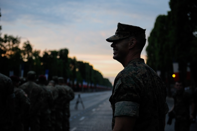 U.S. Marine Corps Sergeant Major Mark Shawhan, Combat Logistics Battalion 24 battalion sergeant major, surveys the formation during rehearsal for the Bastille Day military parade at the Avenue des Champs-Élysées, France, July 10, 2017. U.S. military members arrived at Lycee Militaire de Saint-Cyr and stayed for more than a week to participate in and prepare for France's Bastille Day military parade on July 14, 2017. (U.S. Air Force photo by Airman 1st Class Savannah L. Waters)