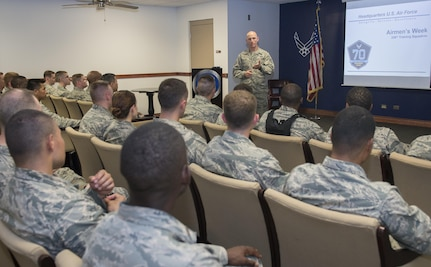 Tech. Sgt. Matthew Walsh, 326th Training Squadron NCO in charge of standardizations and evaluations, talks to chaplain candidates about Airmen's Week at Joint Base San Antonio-Lackland, Texas, July 5, 2017. The tour was part of the Chaplain Candidate Intensive Internship. Airmen attend Airmen's Week, a week-long course, after graduating from Basic Military Training. (U.S. Air Force photo by Senior Airman Krystal Wright)