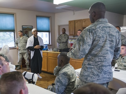 Chaplain (Capt.) Rafael Lantigua, 502nd Air Base Wing Islamic imam, answers chaplain candidates' questions during a High Demand Low Density panel at Joint Base San Antonio-Lackland, Texas, June 30, 2017. The panel was composed of chaplains of faith dominations who were, despite their low numbers, in high demand based on the military's population. The HDLD panel was part of the Total Force Air Force Chaplain Candidate Intensive Internship, which was touring seven bases to include JBSA-Lackland. (U.S. Air Force photo by Senior Airman Krystal Wright)