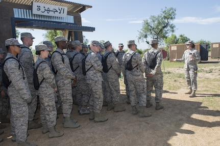 Master Sgt. Crystal Ybarra, 319th Training Squadron military training instructor, provides a tour to chaplain candidates of the Basic Expeditionary Airmen Skills Training at Joint Base San Antonio-Lackland, Texas, July 5, 2017. The tour was part of the Chaplain Candidate Intensive Internship. (U.S. Air Force photo by Senior Airman Krystal Wright)