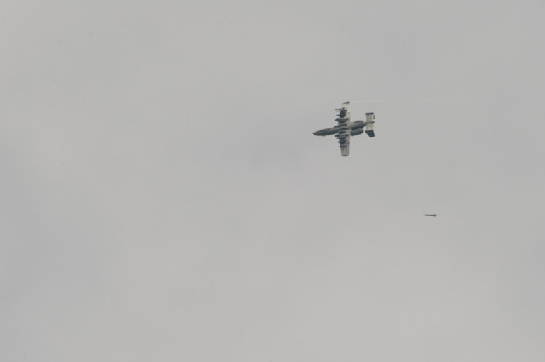 A U.S. Air Force A-10 Thunderbolt aircraft assigned to the 25th Fighter Squadron out of Osan Air Base, South Korea, drops a non-live ordnance on targets June 29, 2017, in the Joint Pacific Alaska Range Complex, Delta Junction, Alaska. The A-10 Thunderbolt II is an accurate and survivable weapons-delivery platform. (U.S. Air Force photo by Airman 1st Class Isaac Johnson)