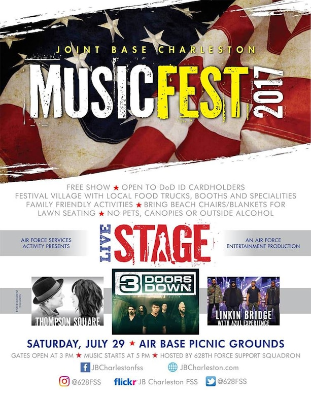 A free concert featuring the bands 3 Doors Down, Thompson Square and Linkin' Bridge (accompanied by Azul Experience) will be held at the picnic grounds on the Air Base July 29. Music Fest 2017 is open to all DOD ID cardholders and their families and will include a festival village with local food vendors, booths and family-friendly activities. The event opens at 3 p.m. with music performances beginning at 5 p.m.