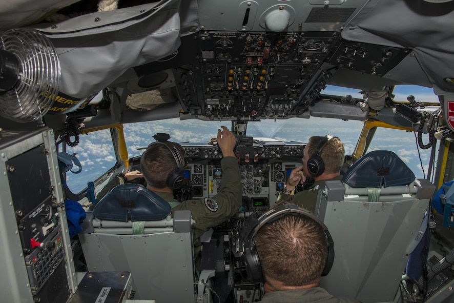 Maj. Ryan Mowers, 328th Air Refueling Squadron, Niagara Falls Air Reserve Station, N.Y., and Capt. Ed Burnet, 465th Air Refueling Squadron, Tinker Air Force Base, OK, pilot a KC-135 Stratotanker, July 18, 2017, along the northern east coast of the United States. Air crew personnel performed various in-flight training procedures to include touch-and-goes and approaches to further familiarize themselves with the new aircraft. The 914th officially became an Air Refueling Wing in June 2017, acquiring a new airframe and mission. (U.S. Air Force photo by Tech. Sgt. Steph Sawyer)